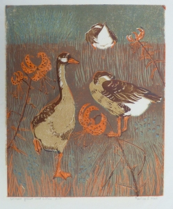 Chinese Geese and Lilies